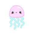 kawaii rose pink jellyfish japanese and korean vector image