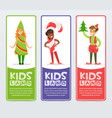 kids land banners set cute boys and girls in vector image vector image
