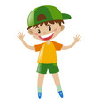 little boy in yellow shirt standing vector image