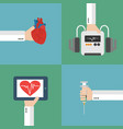 medical heart therapy flat design set vector image vector image