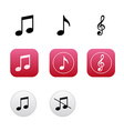 Musical icons and buttons with notes and treble vector image