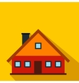 Red cottage flat icon vector image vector image