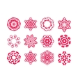 Red snowflakes on white background vector image vector image