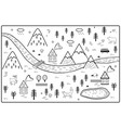 river mountains and woods adventure map vector image