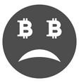 sad bitcoin smiley flat icon vector image vector image