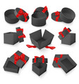 set gift black boxes with red bow and vector image