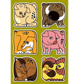 Set of cartoon domestic farm animal stickers vector image vector image