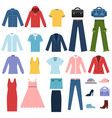 set of different clothes for male and female vector image