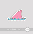 shark fin icon summer vacation vector image