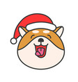 shiba inu emoticon filled outline design vector image