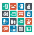 Silhouette Household Gas Appliances icons vector image
