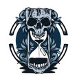 skull and hourglass vector image vector image