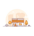 small shop - modern thin line design style vector image