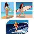 surfer girls summer sport ocean beach sea vector image vector image