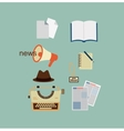 typewriter hat sheets of paper a notebook a vector image