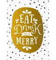 typographic design gold foil christmas card vector image vector image