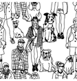Walking people and dogs seamless pattern vector image vector image