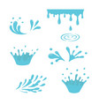 water and drop icons blue waves and water vector image