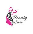woman beauty care logo vector image vector image