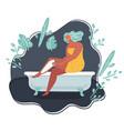 woman shaving legs in bath vector image