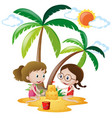 two girls playing sandcastle on the sand vector image