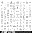 100 coffee icons set outline style vector image