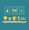 achievements on shelves wall trophy golden cups vector image