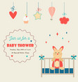 baby shower invitation card with little rabbit in vector image vector image
