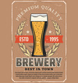 brewery or beer bar and pub retro poster vector image vector image