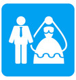 bride and groom rounded square icon vector image