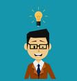 businessman with an idea light bulb vector image