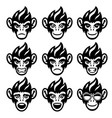 cartoon monkey head set in various face expression vector image vector image