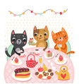 cat holidays tea time vector image vector image