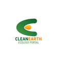 clean earth ecology portal letter e icon vector image vector image