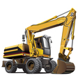detailed ial image of light-brown wheeled excavato vector image