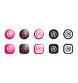 dribbble modern 3d and flat icons set vector image