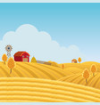farm on hill with yellow or gold field background vector image vector image
