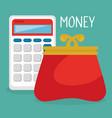 female wallet money with calculator vector image vector image