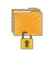 file folder with safety lock icon image vector image