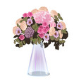 fresh cut flowers in a glass conical vase isolated vector image