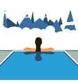 Girl in the hotel pool travel vector image