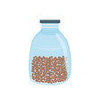 glass jar with grains in flat style isolated on vector image