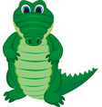 green funny crocodile with a long tail vector image vector image