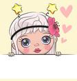 greeting card cute cartoon girl vector image