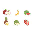 group of fruits color icon on white background vector image vector image