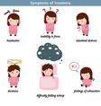 Insomnia common symptoms vector image