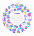 lighting concept in circle with thin line icons vector image vector image