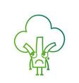 line kawaii cute sad broccoli vegetable vector image vector image