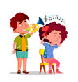 little boy blowing party horn to tease little sad vector image vector image