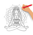 meditating woman on mandala background vector image vector image